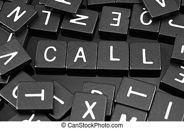 "noir, lettre, tuiles, orthographe, les, mot, ""call"""
