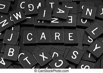 """noir, lettre, tuiles, orthographe, les, mot, """"care"""""""