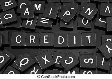 """noir, lettre, tuiles, orthographe, les, mot, """"credit"""""""