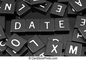 """noir, lettre, tuiles, orthographe, les, mot, """"date"""""""