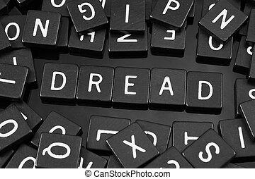 """noir, lettre, tuiles, orthographe, les, mot, """"dread"""""""