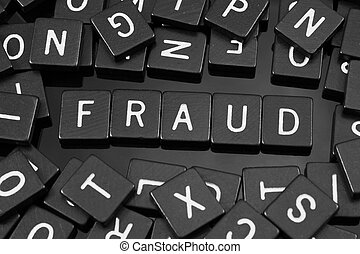 """noir, lettre, tuiles, orthographe, les, mot, """"fraud"""""""