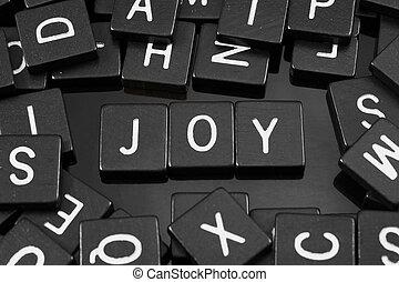 """noir, lettre, tuiles, orthographe, les, mot, """"joy"""""""