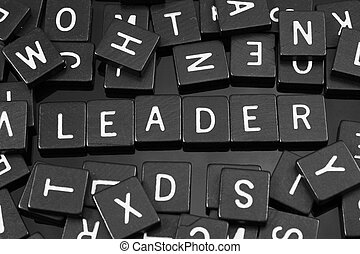"""noir, lettre, tuiles, orthographe, les, mot, """"leader"""""""