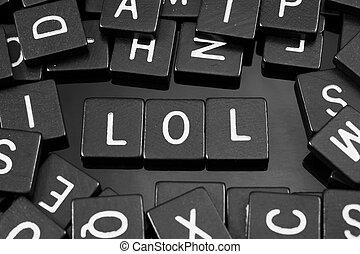 "noir, lettre, tuiles, orthographe, les, mot, ""lol"""