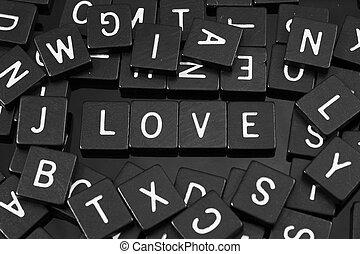 "noir, lettre, tuiles, orthographe, les, mot, ""love"""