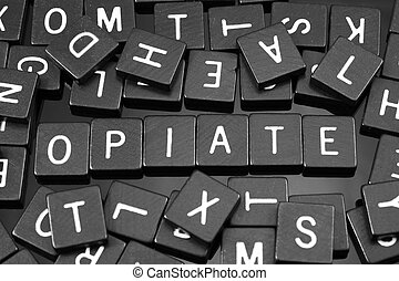 "noir, lettre, tuiles, orthographe, les, mot, ""opiate"""