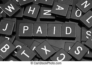 """noir, lettre, tuiles, orthographe, les, mot, """"paid"""""""