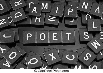 "noir, lettre, tuiles, orthographe, les, mot, ""poet"""