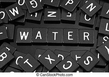 """noir, lettre, tuiles, orthographe, les, mot, """"water"""""""