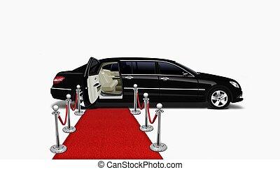 noir, limo, moquette rouge