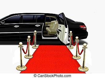 noir, limo, sur, moquette rouge, arrivée