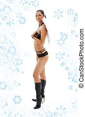 noir, lingerie, ange, dans, cuir, bottes, à, flocons neige