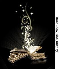 noir, livre ouvert, magie