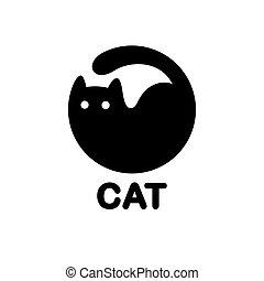 noir, logo, cercle, chat