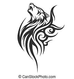 noir, loup, illustration, tatouage