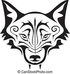 noir, loup, tatouage