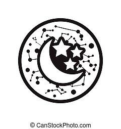 noir, lune, style, étoiles, icône, blanc, plat