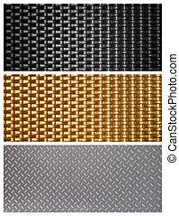 noir, métal, texture, tissage