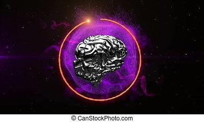 noir, métallique, cerveau, tourner, fond, animation, 3d, pourpre, sur, humain, globe, incandescent