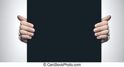 noir, mains, tenue, vide, affiche