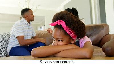 noir, maison, côté, parents, vue, divan, discuter, ...