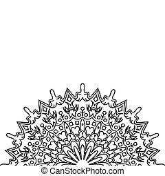 noir, mandala., ornement, blanc, carte