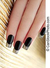 noir, manicure., francais