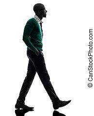 noir, marche, africaine, silhouette, homme