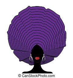noir, mariage, vecteur, african-american, isolé, turban., nigérien, femme, style, blanc, jeune, afro, wraps., headtie, africaine, illustration, tête, fond, beauty., girl, portrait