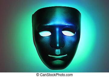 noir, masque, sourire, vert, simple, mis valeur, au-dessous