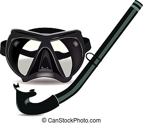 noir, masque, tankard, sport, plongée