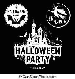 noir, message, halloween, blanc, fête