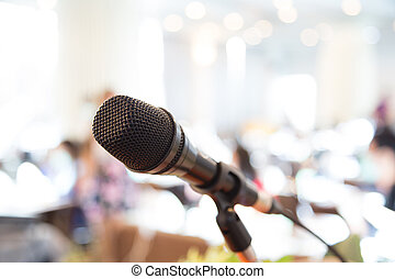 noir, microphone, dans, salle conférence