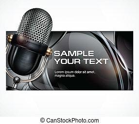 noir, microphone