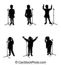 noir, microphone, silhouette, chant, enfant
