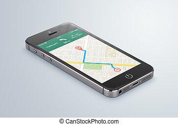 noir, mobile, smartphone, à, carte, gps, navigation, app, mensonges, sur, les