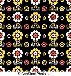 noir, modèle, seamless, floral