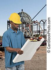 noir, modèles, ouvrier construction