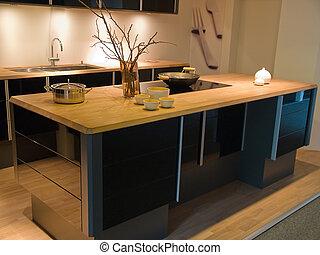 noir, moderne, bois, branché, conception, cuisine