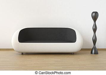 noir, moderne, conception, intérieur, blanc