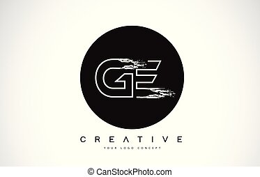 noir, moderne, créatif, ge, conception, brosse, lettre, ...