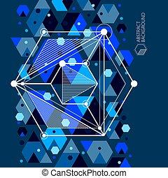 noir, moderne, illustration., géométrique, retro, bleu, mechanism., 3d, futuriste, fond, formes, ou, plan, ingénierie, moteur, vecteur, résumé