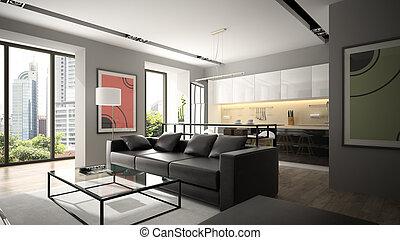 noir, moderne, plancher, rendre, sofa, parquet, intérieur, ...