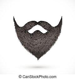 noir, moustaches, et, barbe, isolé, blanc, fond