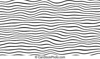 noir, mouvement, lignes, informatique, boucle, engendré, blanc, horizontal, animation., arrière-plan.