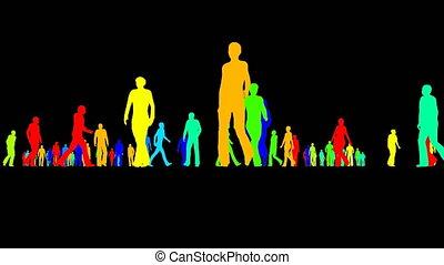 noir, mouvements, lentement, foule, gens