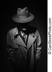Noir movie character - Man posing in the dark with a fedora ...