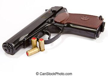 noir, munitions, pistolet