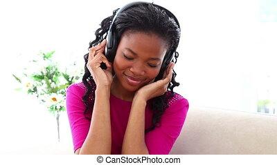 noir, musique, chevelure, femme, écoute